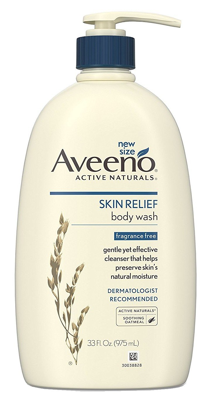 Aveeno Skin Relief Fragrance-Free Body Wash with Oat to Soothe Dry Itchy Skin, Gentle, Soap-Free & Dye-Free for Sensitive Skin, 33 fl. oz (Pack of 2)