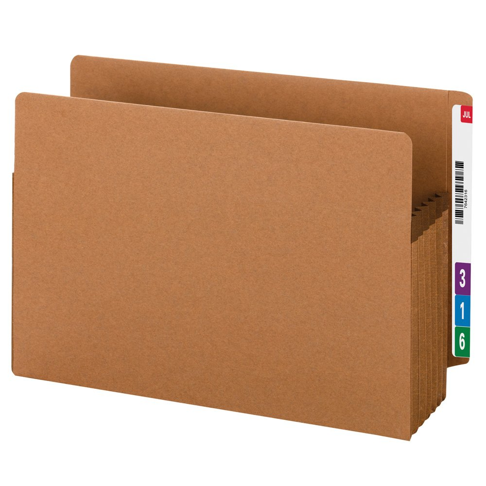 Smead 100 Percent Recycled End Tab Pockets, Extra Wide Legal Size, 5-1/4-Inch Expansion, Redrope, 10 Per Box (73621)
