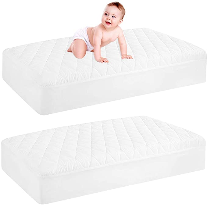 Ultra Soft Cot Mattress Protector Quilted Waterproof Pad Cover 60 x 120cm for Cot Bed and Toddler Bed Breathable