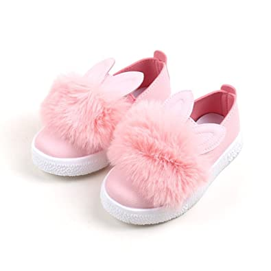 633e5ce58c1 KIMJUN Toddler Baby Girls Slip-on Loafers Shoes Cute Bunny Sneakers Shoes  Pink US 4.5