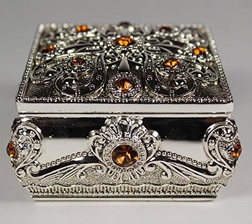 [GiftsNMemories (S) Square Silver Plated Jewelry Box with Gemstones, Champagne] Wedding Ring Box, Ring Bearer Pillow, Gemstone Jewelry Box, Engagement Gift, Favor Box, Trinket Dish (Plated Jewelry Box Silver)