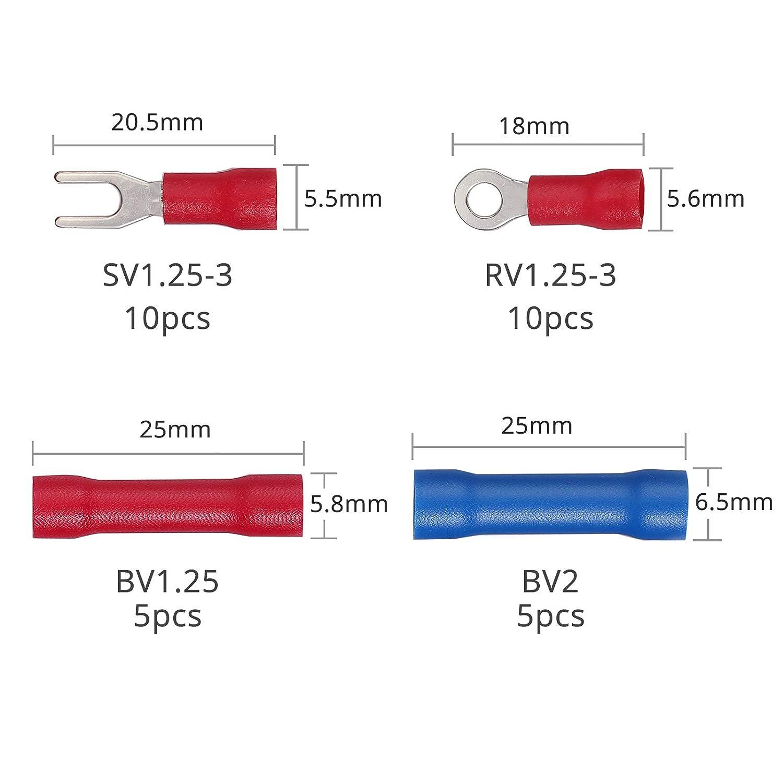 Alicates de Terminales 0.5-6.0 mm/² Crimpadora AWG 22-10 Herramienta de Prensado con 500 pcs Conectores Terminales Electricos Anillo Pala para Electricista Hogar Empresa Fabrica Taller