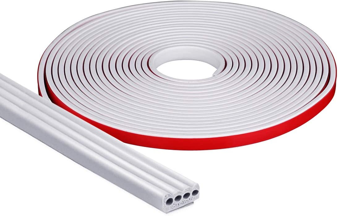 Dustproof and Windproof Soundproof Self Adhesive Weather Striping for Doors and Windows 9x2mm Doors and Windows Gap Blocker 19.7 Ft Livtribe Doors Sealing Strip White