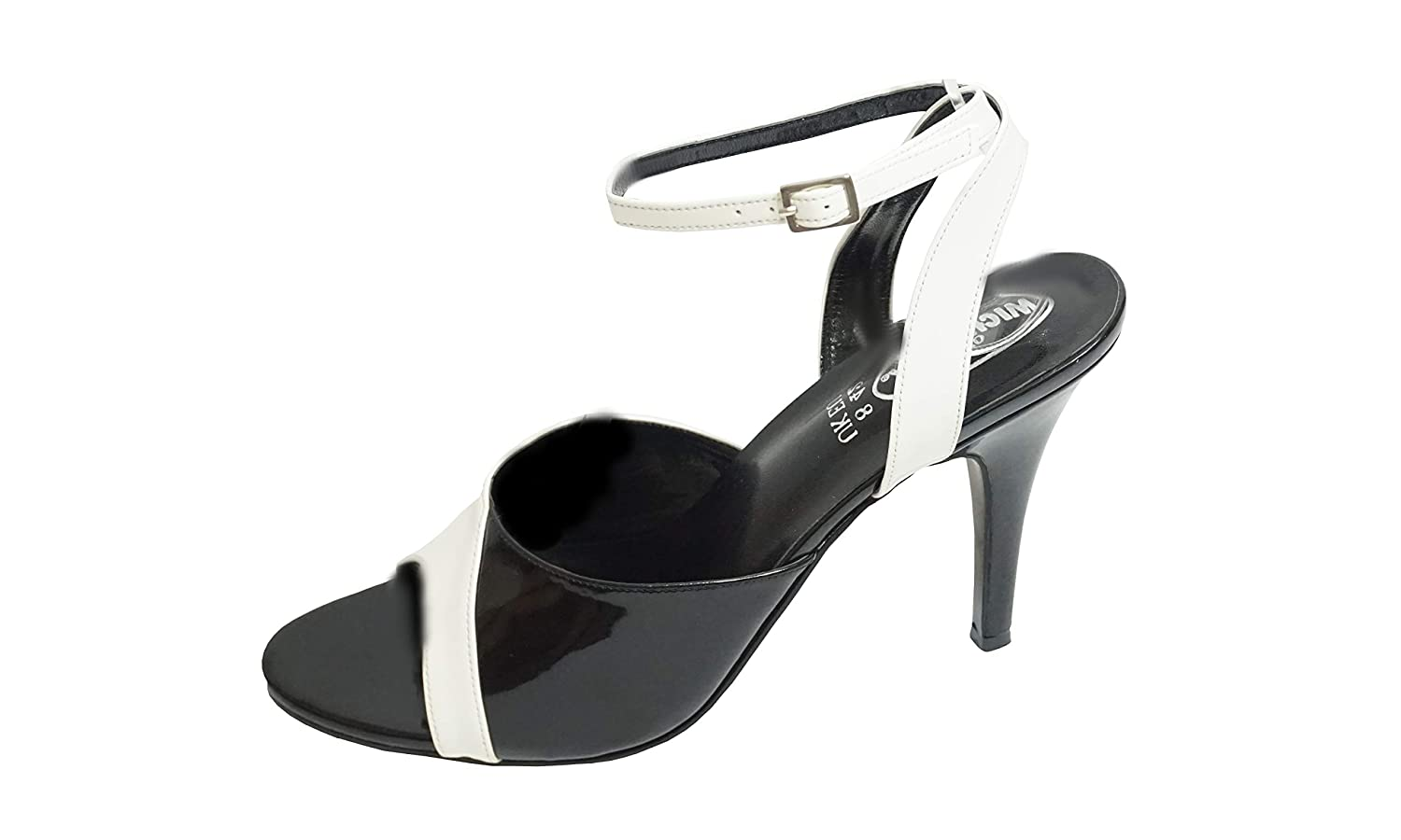 1702ab2c825 MicheleX 8066 Black and White PVC Sandals Shoes LGBTQ+: Amazon.co.uk ...