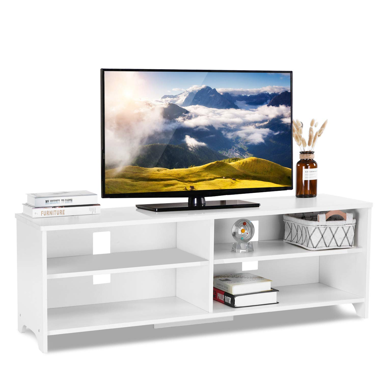 ADD ONE +1 Wood TV Stand Storage Console, Black