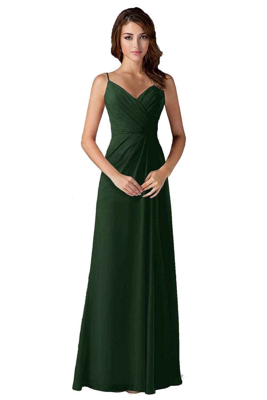 Dark Green ANGELWARDROBE V Neck Spaghetti Strap Bridesmaid Dresses Long Wedding Party Gown