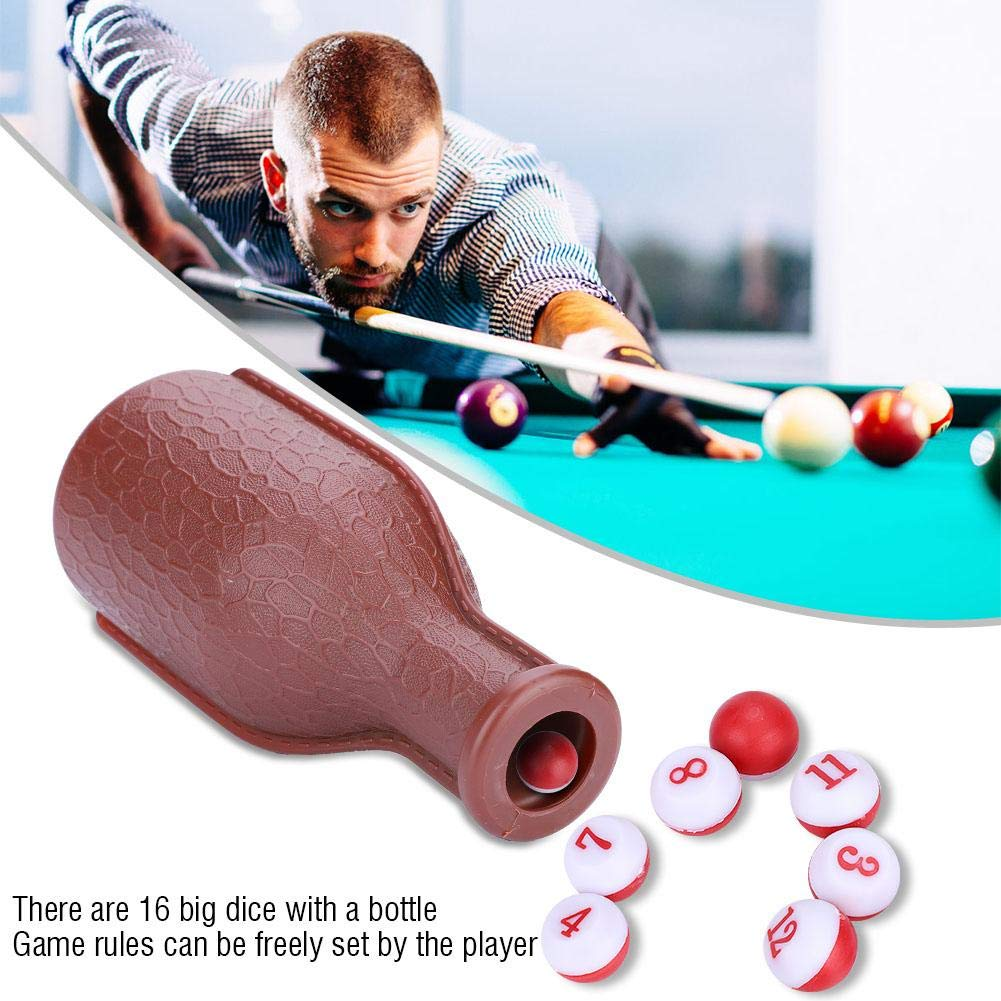 VGEBY Billiard Kelly Pool Shaker Bottle Brown Pool Dice Billiards Accessory with 16 Numbered Tally Balls