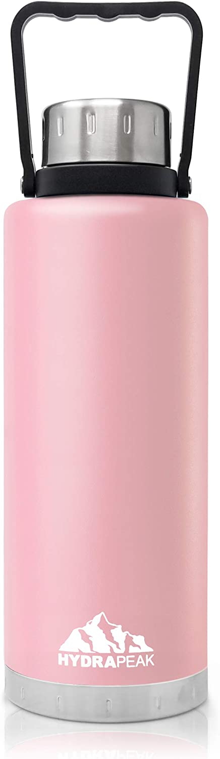 Hydrapeak 67oz Double Wall Stainless-Steel Vacuum Insulated Water Bottle, Wide Mouth Flask with BPA-Free, Leak-Proof Handle Lid (Pink, 67oz)