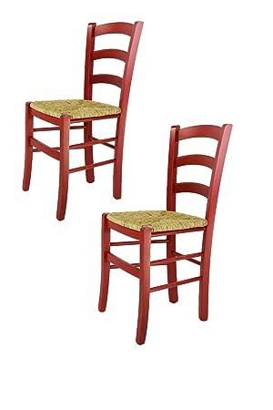 2 Aniline Assise CuisineBar Avec Venezia Tommychairs Et Set La En Paille Chaises Pour Salle Structure 38 Manger Bois Coleur À Rouge vmN0ynwO8P