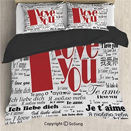 I Love You Black Bedding Set,Newspaper Stylized International Love Words Contemporary Happy Mothers Day Decorative King Size Decorative 3 Piece Duvet Cover Set with 2 Pillow Shams,White Black Red