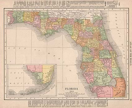Antique Map Of Florida.Amazon Com Florida State Map Showing Counties Rand Mcnally 1912