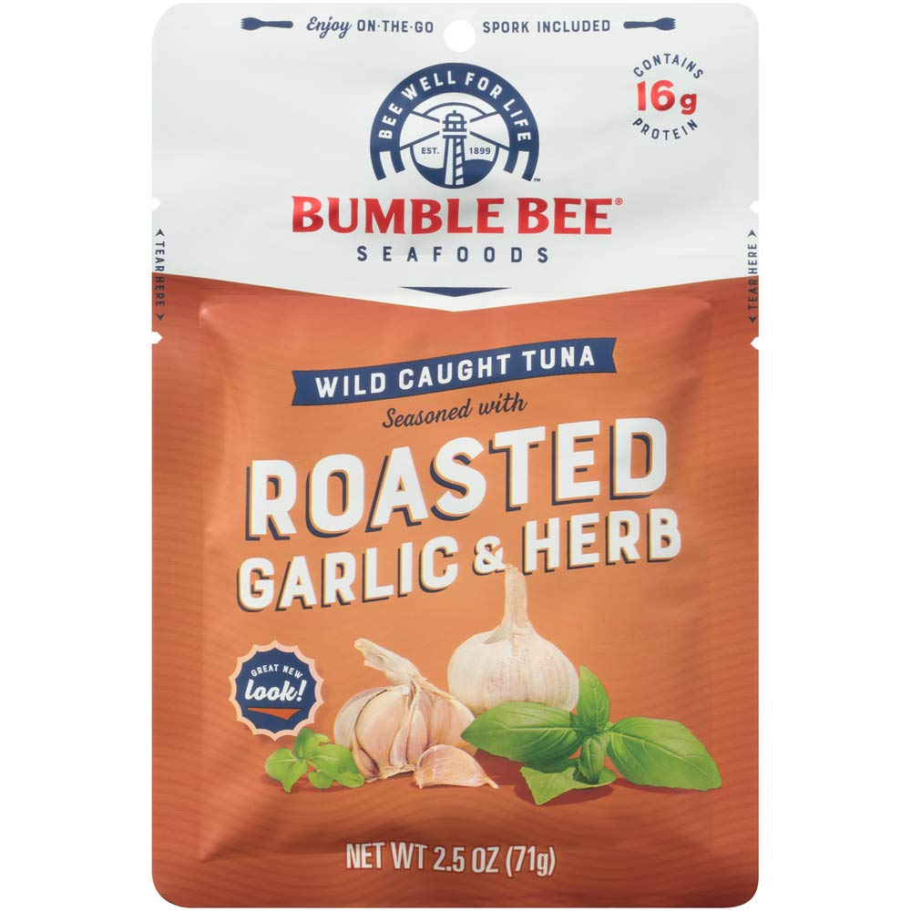 BUMBLE BEE Roasted Garlic & Herb Seasoned Tuna, 2.5 oz. Pouch with Spoon (Pack of 12), Wild Caught Tuna Fish, Tuna Pouch, High Protein, Keto Food, Keto Snack, Gluten Free, Paleo Food