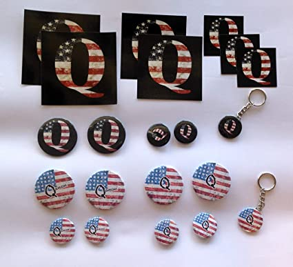 Q Qanon Gift Set 21 Items Keychains Magnets Pins Stickers