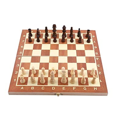 Folding Wooden Chess Set with Storage Box 3 In 1 International Board Chess checkers 34 x 34 cm