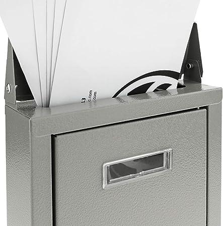 Cassetta delle Lettere Casella Postale e Posta Metallico di Colore Grigio da Parete 178 x 57 x 259 mm PrimeMatik