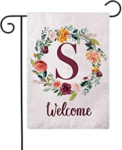 ULOVE LOVE YOURSELF Letter S Garden Flag with Flowers Wreath Double Sided Print Welcome Garden Flags Outdoor House Yard Flags 12.5 x 18 Inch