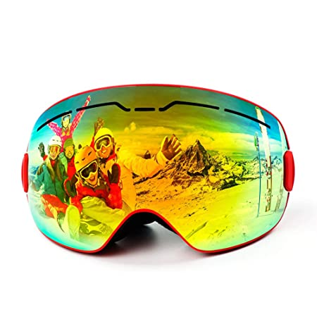 Speefish Ski Snowboard Goggles Anti-Fog OTG Snow Goggles Detachable Dual Lens with Case for Men Women Youth Helmet Compatible