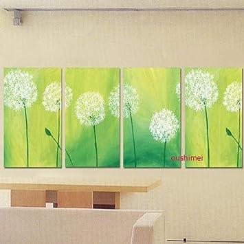 Dandelion Bilder Auf Leinwand Modern Querformat Lgemlde Fr Wohnzimmer Wall Art Leinwandbild Grn