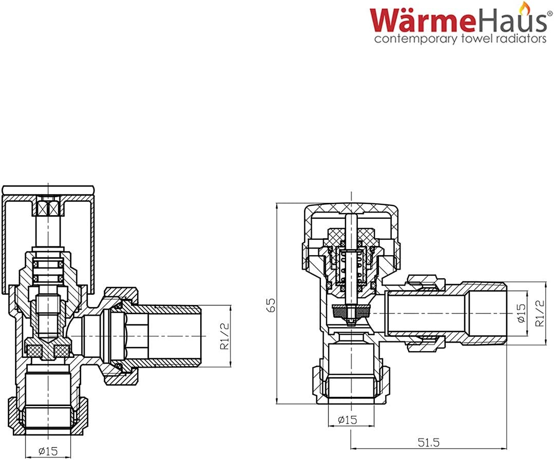 15mm Designer Straight Thermostatic and Manual Heating Radiator and Towel Rail Valves