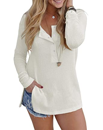 6469b1a5 Pretifeel Womens Long Sleeve Knit Tunic Blouse Henley Shirts Split Side  Sweater with Button Details