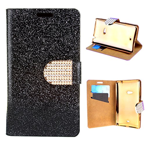 For Nokia Lumia 625 , TUTUWEN Stylish Luxury Bling Glitter Diamond Wallet Case PU Leather [Flip Magnetic] Stand with Inner Chrome Plastic Hard Protective Cover for Nokia Lumia 625 Black