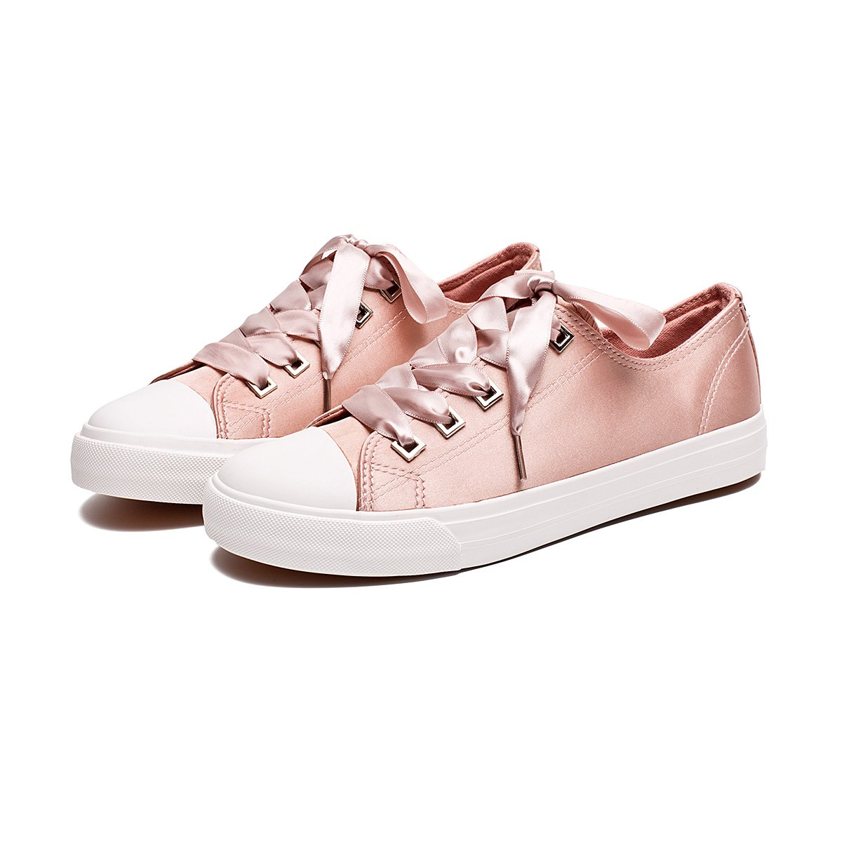 ZGR Womens Fashion Canvas Sneaker Low Cut Lace UPS Casual Shoes Pink Size US8