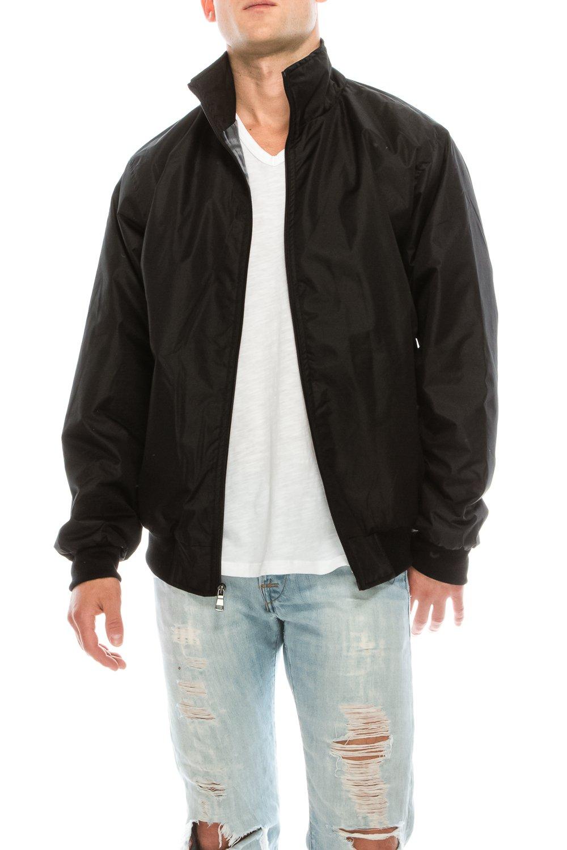 KlothesKnit Men's Solid Waterproof Full Zip Jacket with Plaid Fleece Lining and Pockets XXL Black