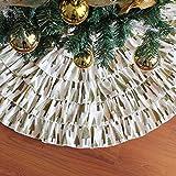 NIGHT-GRING 36 inch Christmas Decorations Burlap Ruffled Xmas Christmas Tree Skirt - Holiday Decoration for Gift
