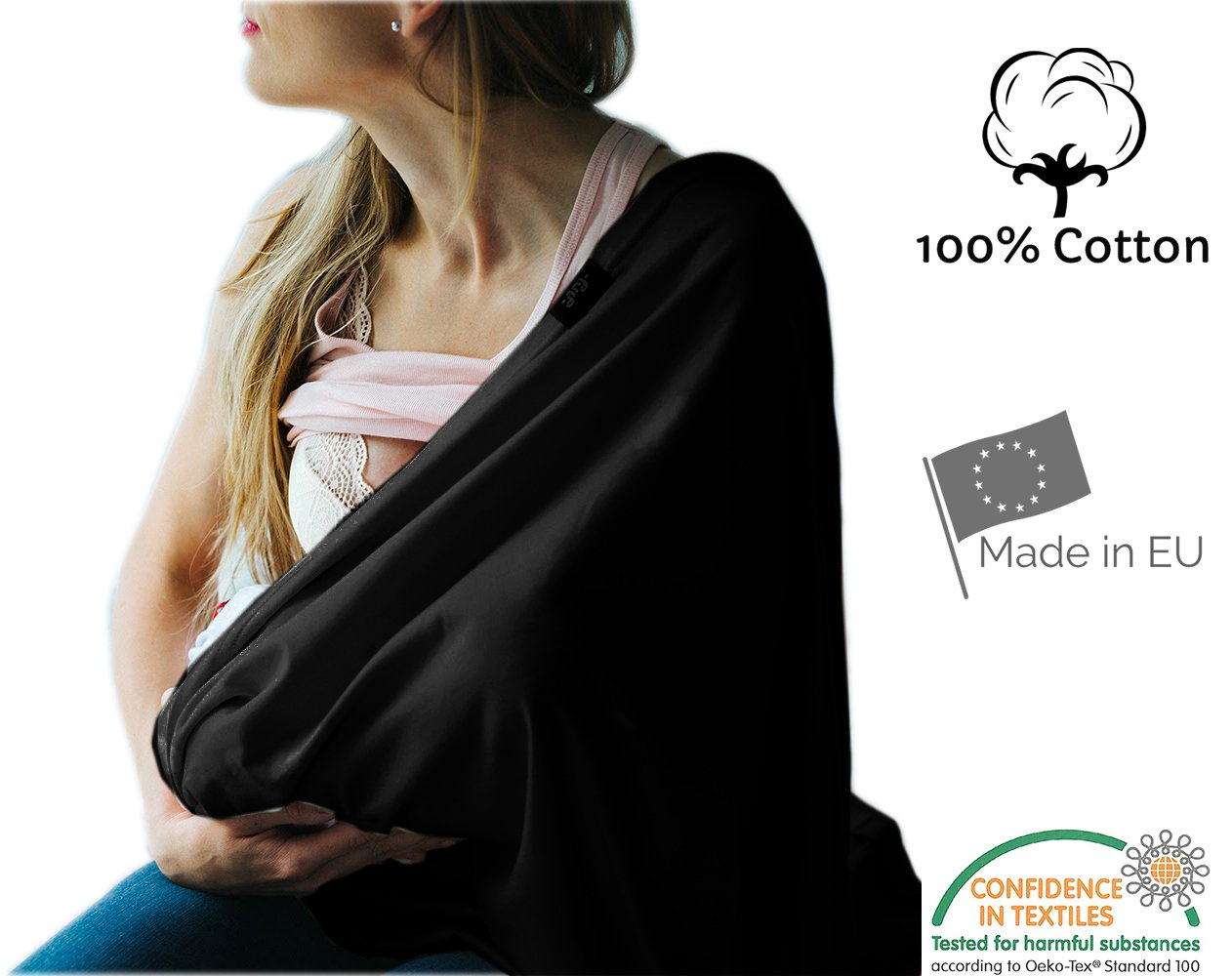Nursing Cover Infinity Breastfeeding Scarf 100% Eco Cotton Breathable Made in Europe High Quality Fabric (Turquoise) PULP Bamboo