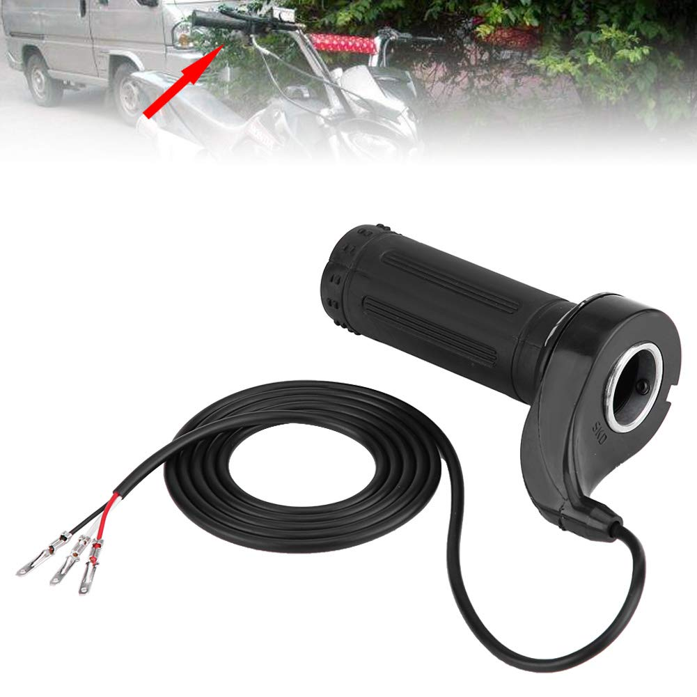 black Qiilu Motorcycle Accelerator Electric Scooter Twist Speed Throttle Grip 12//24//36// 48V with 3 Wires