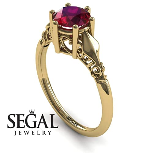 5146a823b Amazon.com: Unique Engagement Ring 14K Yellow Gold Antique Ring Ruby -  Reagan: Handmade