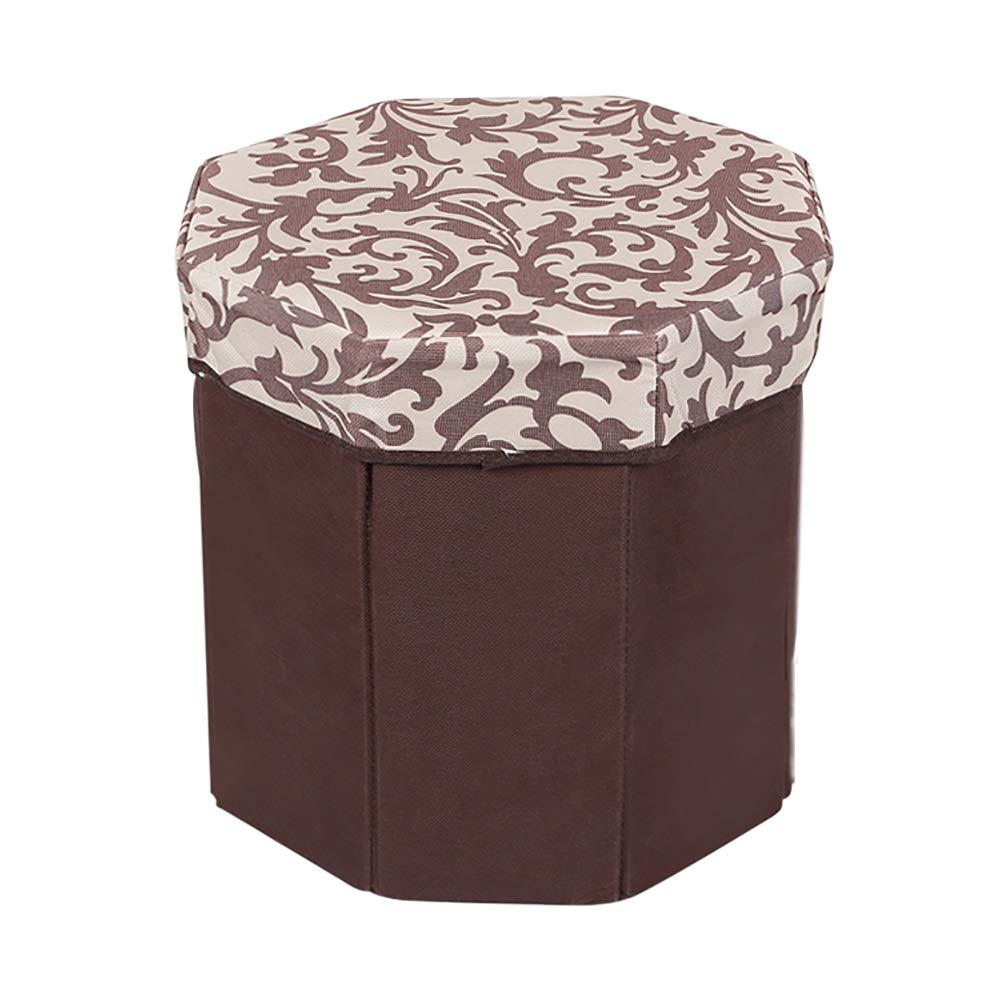 LFF- Folding Foot Rest Seat Polygonal Space-Saving Small Foot Stool with Lid for Living Room, Pack of Two (Color : Style 3)