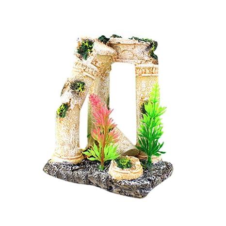 Piebo Acuario Tanque Peces Escondido Ornamento de la Cueva Ruinas del Templo Romano Acuario Decoración