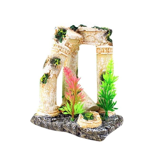 Piebo Acuario Tanque Peces Escondido Ornamento de la Cueva Ruinas ...
