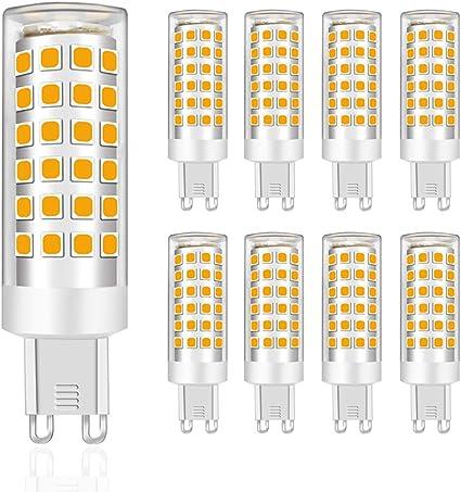 Imagen deMENTA Bombillas LED G9 9W, Equivalente a 75W Halógena, Blanco Cálido 3000K, 750lúmenes, 76-SMD 2835 Lámpara Bombilla, 220-240 VAC, No Regulable, Ángulo de Luz de 360°, Garantía de 2 año, Pack de 8           [Clase de eficiencia energética A++]