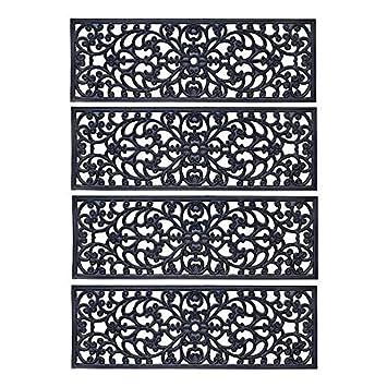 Set Of 4 30u0026quot;x10u0026quot; Outdoor Black Rubber Stair Treads Scroll Design  ...