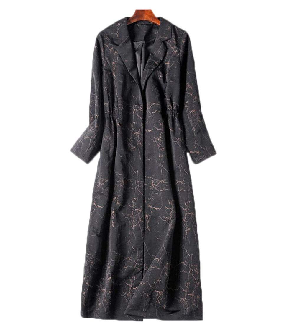 Women's Windbreaker Long Coat Temperament Slim Thin Print Windbreaker (color   Black1, Size   L)