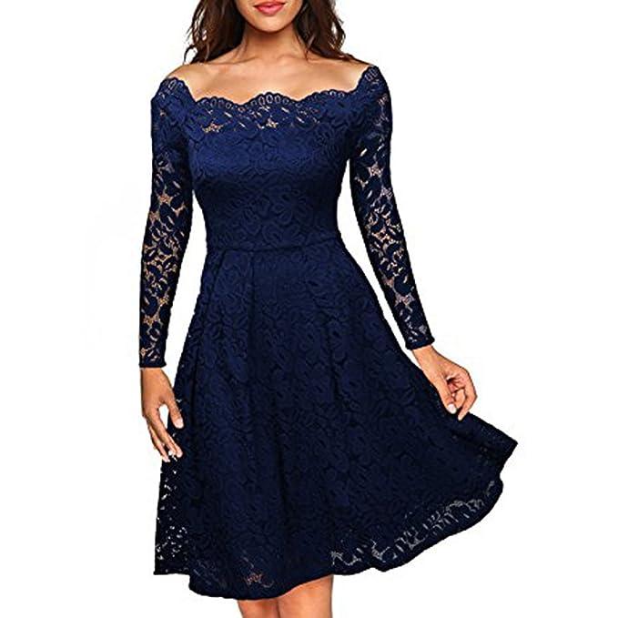 Vestido de encaje para mujer - Elegante, vintage, manga larga, cuello barco,
