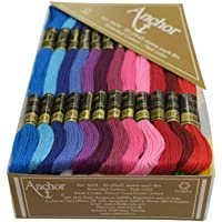 Anchor Stranded Cotton Assorted Skeins Stitch Kit, 8m (Fast colour-4624-02222, 50 Skiens, 2 of Each 25 Shades)