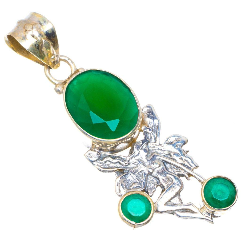 Natural Chrysoprase Unique Design 925 Sterling Silver Pendant 2 D274