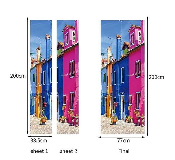 KKYLOVEJ 3D Etiqueta de la puerta Moda casera moderna Decorativo Venecia escena de la calle Desmontable Bricolaje Papel pintado Murales PVC Pegatinas de ...