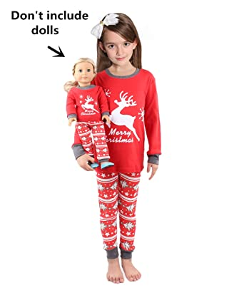 ed6d5aad06 Girls Matching Doll toddler Deer 4 Piece long cotton Christmas Pajamas Kids Pjs  size 2 years