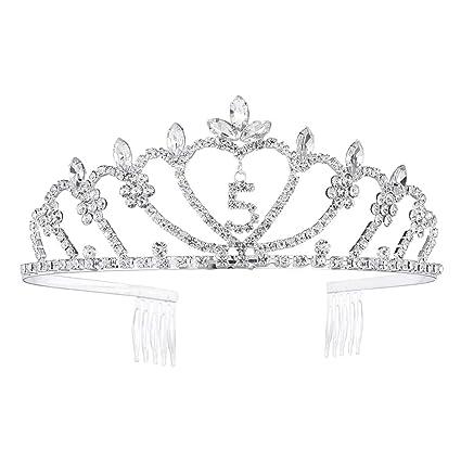 Lurrose Corona de Princesa de Cristal para Cumpleaños de ...