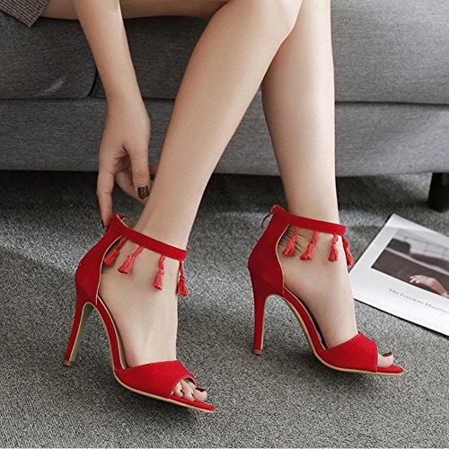 a Mouth Shallow Tassel Fashion spillo Fish tacco alto Bocca Wedding Red Super EU36 Tacchi SASA donna UK4 Shoes Sandali da con alti New 8qpAc7