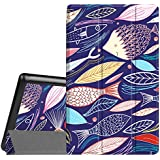 Fintie Slim Shell Case for Amazon Fire HD 8 (Previous Generation - 6th) 2016 release, Super Slim Lightweight Standing Cover with Auto Wake/Sleep, Midnight Fish