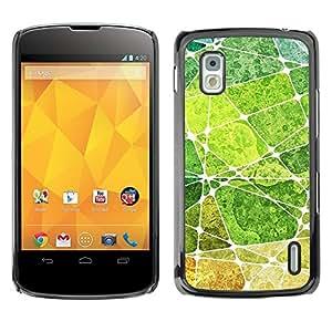 TopCaseStore / la caja del caucho duro de la cubierta de protección de la piel - Leaf Green Nature Painting Abstract - LG Google Nexus 4 E960