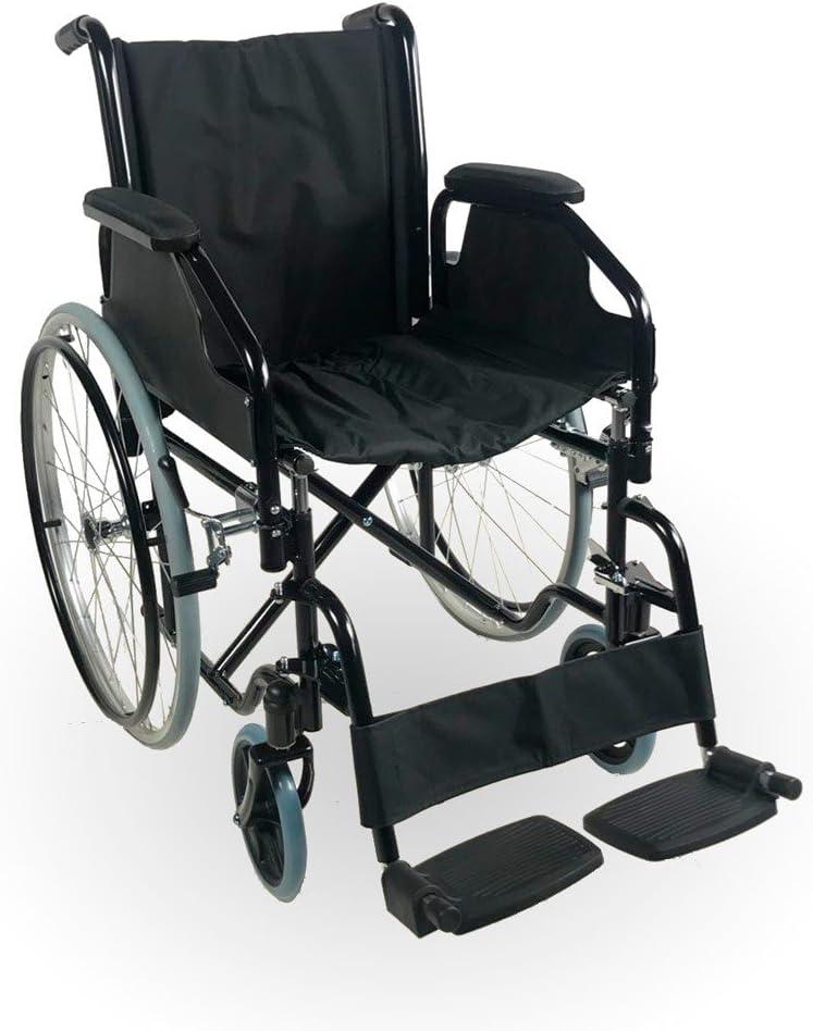 Mobiclinic, modelo Catedral, Silla de ruedas plegable, ortopédica, para minusválidos, de Acero, manual, freno en manetas, reposapiés y reposabrazos extraíbles, color Negro, asiento, ultraligera