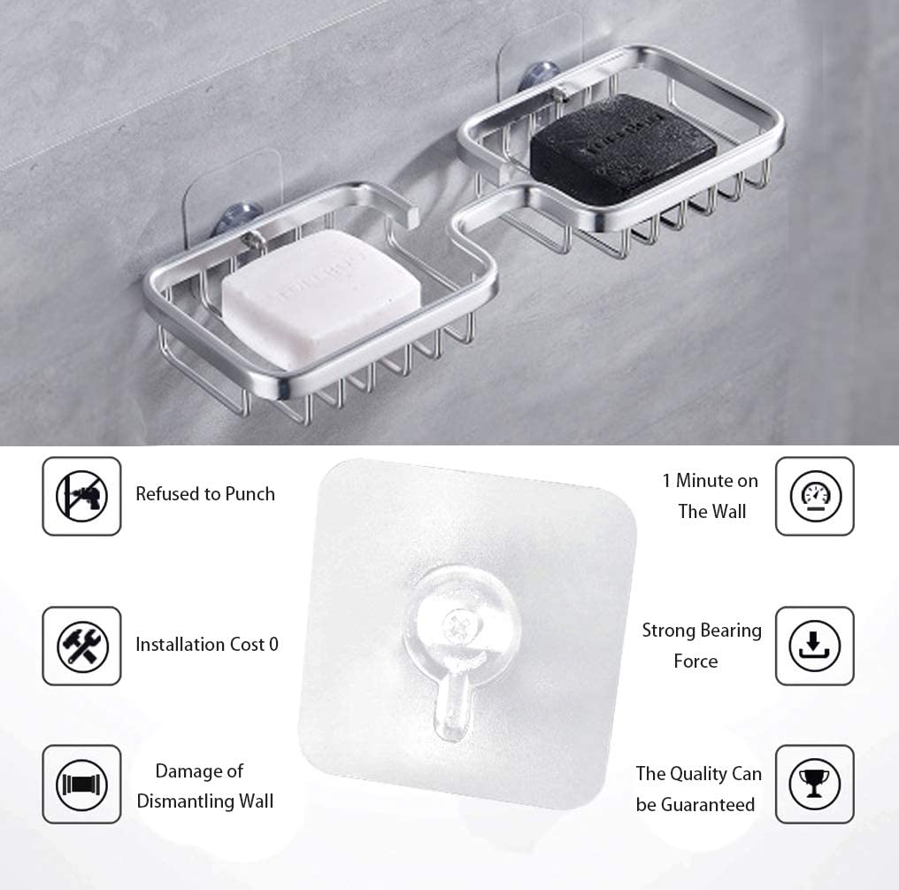 Bar Soap Holder, Soap Dish for Bathroom, Soap Holder for Shower Wall Adhesive Soap Dish for Shower (Sliver, Long): Kitchen & Dining