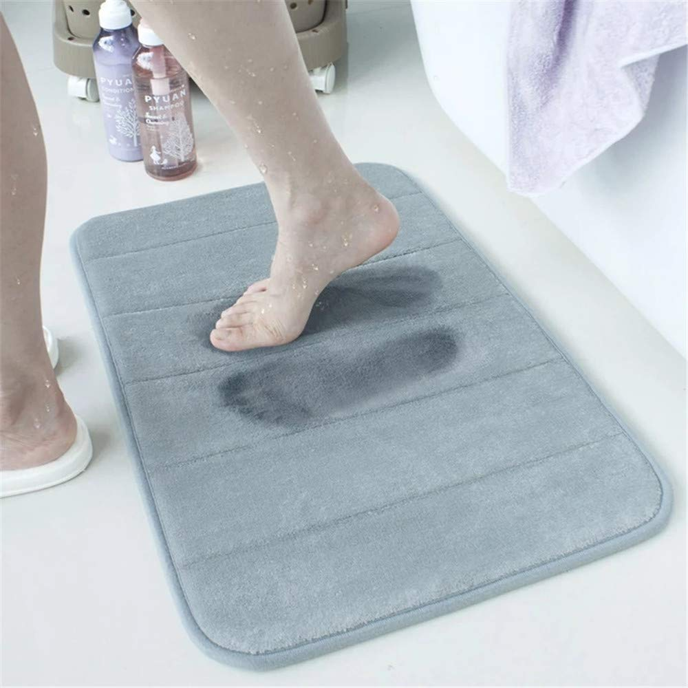 Non-Slip,Thick Light Blue 20 x 32 Inch Easier to Dry for Bathroom Floor Rug by Ouioui Large Size Memory Foam Bath Mat Soft Absorbent Comfortable Machine Washable