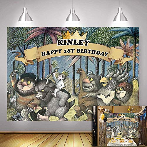 Customizable Night Jungle Theme Animals Backgrounds Studio Props for Birthday Cake Table Decoration Vinyl 7x5ft Cartoon Wild Party Banner Backdrops Photography for Childern (Customizable Background Color)